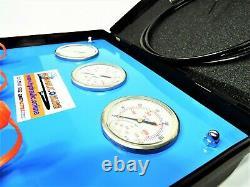 3 Gauge (40, 160, 300 Bar) Pressure Test Kit with 2M Test Hose in Plastic Case