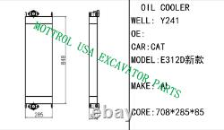 CORE AS OIL COOLER FITS Caterpillar CAT EXCAVATOR E312D 312D 312DL 2813626